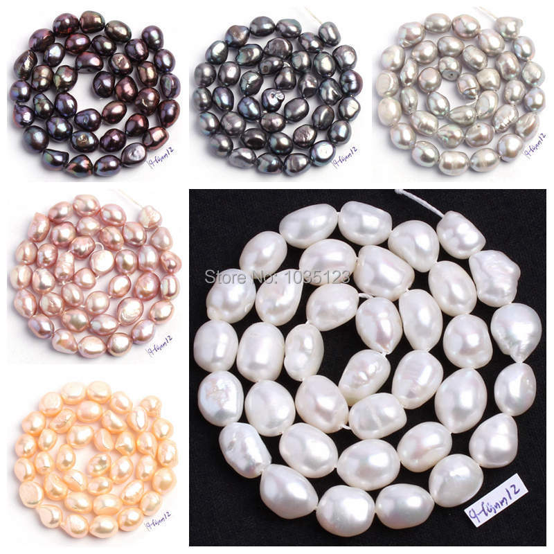 Free Shipping Natural 6 Color 9-10mm multicolor Freshwater Pearl Irregular Shape Loose Bea