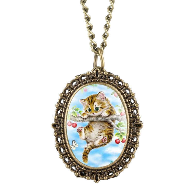 Lovely Cherry Kitty Pocket Watch For Girl Warm Patch Quartz Pocket Watch Retro Elliptical Gift For Pocket Watch With Necklace