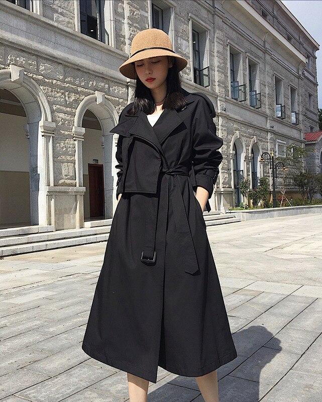 Nouveau Manteaux À vent Coupe Vintage Longues Mode Cravate Taille Lâche khaki Shengpalae Black Grande 2019 Automne Manches Femmes Montant Col Fl951 5XwxCqTC