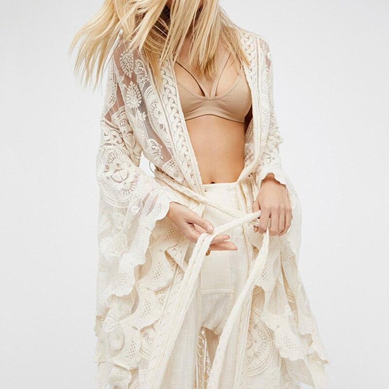 DEAT broderie dentelle femmes chemise Flare manches Maxi Blouse femme 2018 été mode vacances Style vêtements Plus tailles WB52100