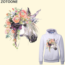 ZOTOONE Flower Unicorn Patch Heat Transfer Vinyl Applique Stickers for Clothes DIY T-shirt Iron-on Transfers Thermal Press