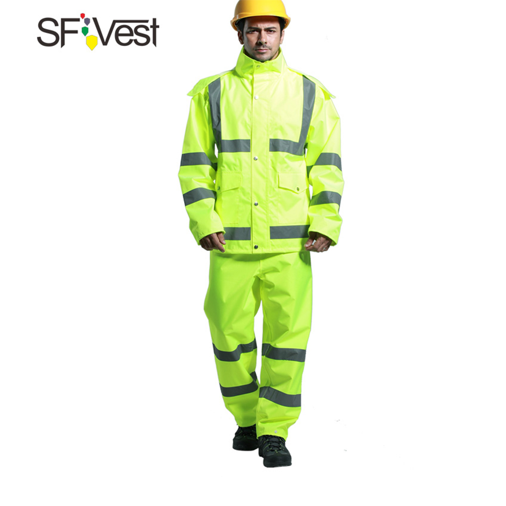 Reflective Rainwear Suit Thickened Luminous Safety Raincoat Suit Outdoor Hiking Riding Men and Women Waterproof Oxford