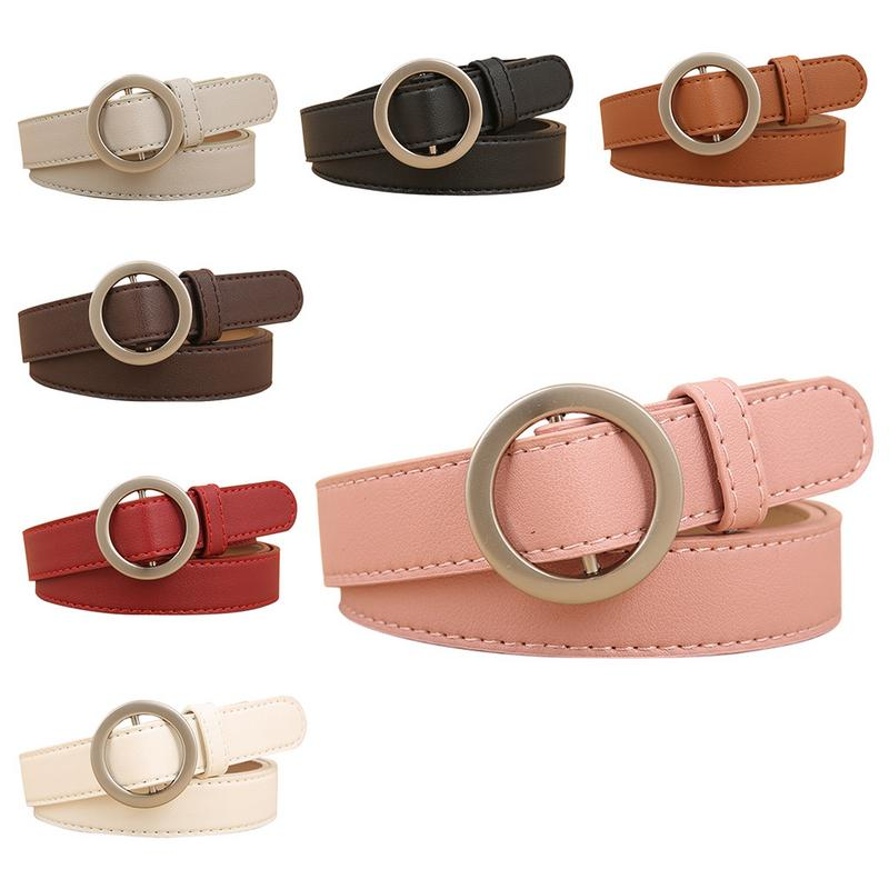 2018 New Simple Cute Korean Style Women's Round Buckle   Belt   Simple All-match Jeans   Belt   Faux PU Leather   Belt