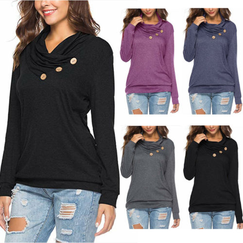Women Ladies Long Sleeve Autumn Casual Shirt T-shirt Tee Top Size S-2XL Ladies Solid Cotton Chic Tees Shirts Female Clothing