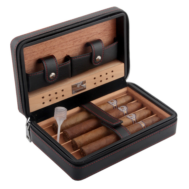 Cohiba Cigar Case Humidor Portable Cedar Wood Leather Travel Humidor Humidifier Set Gift Box (Without lighter cutter)