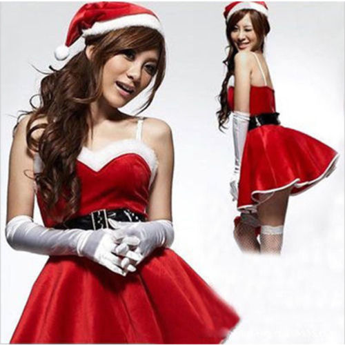 Sexy Women Christmas Santa Costume Dress With Hood Outfit Xmas Party Fancy  Dress df3a5b413fbd
