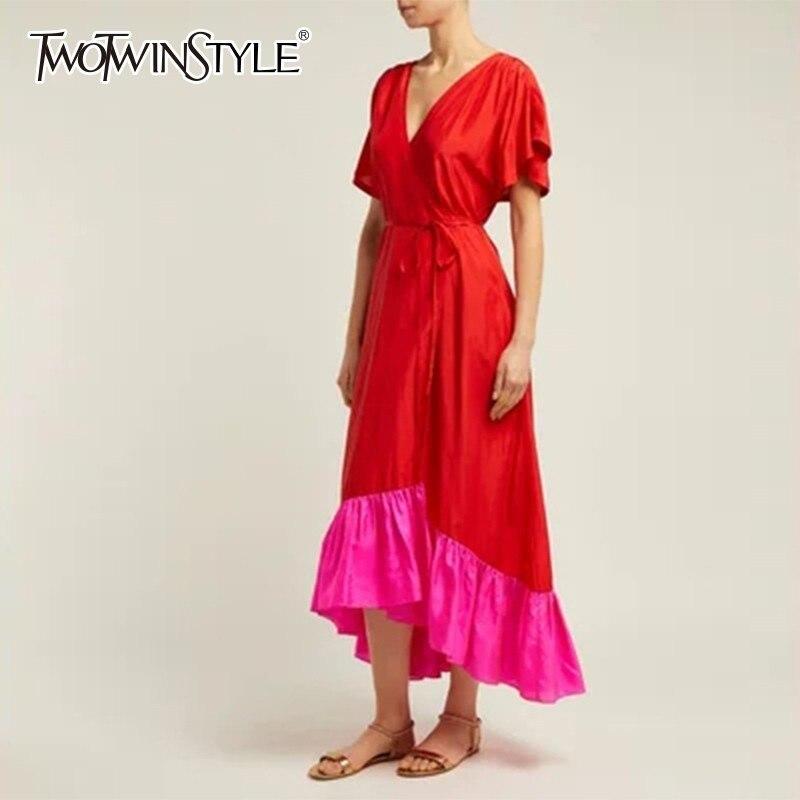 Deuxtwinstyle robe asymétrique élégante femmes col en V à manches courtes taille haute à lacets Hit couleur robes longues femme mode 2019