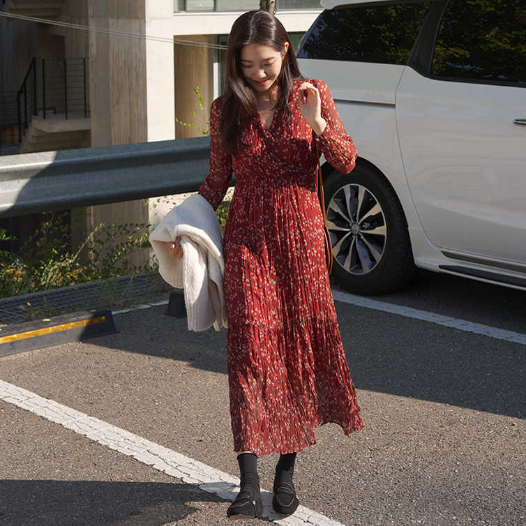 שיפון S-XL אביב robe femme מקרית Boho המפלגה OL ארוך שרוול אדום V צוואר הדפסת נשים שמלות נשי שמלת חלוק femme Vestido