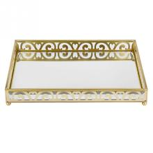 Brass Mirrored Ornate Decorative Tray Jewelry Tray Perfume Display Holder Jewelry Plate Home Decoration Place Cosmetics