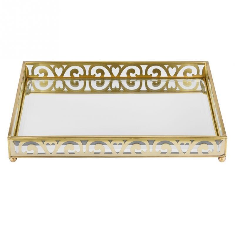 Laiton miroir orné plateau décoratif bijoux plateau parfum présentoir bijoux plaque décoration de la maison lieu cosmétiques