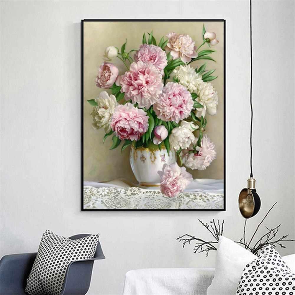 Huacan diy 5d pintura diamante peônia ícone decoração de casa moderna quadrado cheio diamante bordado flores presentes casamento