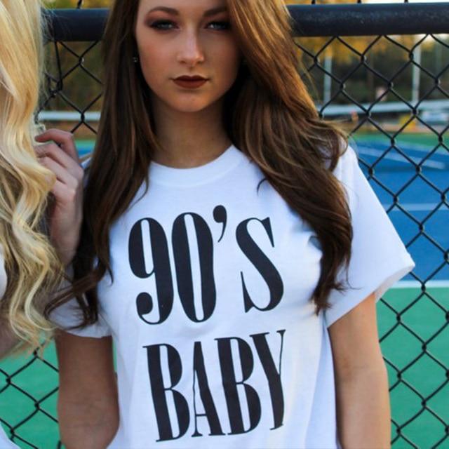 5717dec4fcedc Años 90 bebé cartas verano de las mujeres ropa de moda 90 s camisa Rap letra