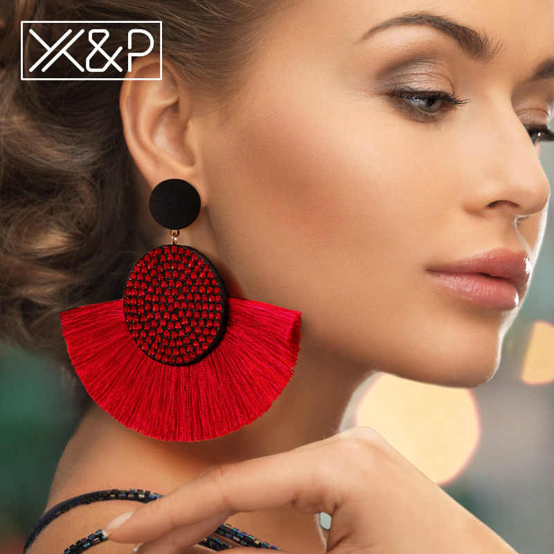X&P Fashion Bohemian Tassel Crystal Big Earrings Black White Red Silk Fabric Drop Dangle Tassel Earrings For Women Jewelry