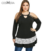 COSMERA Women Open Shoulder Lace Panel Plus Size 5XL T Shirt Round Neck Long Sleeves Casual Solid Tunic Tees Ladies Spring Tops
