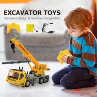 1 set Simulation RC Excavator Toys s RC Crane Truck Toy Gifts with Lighting Music Toy For Children Educational Toys for Boy gift