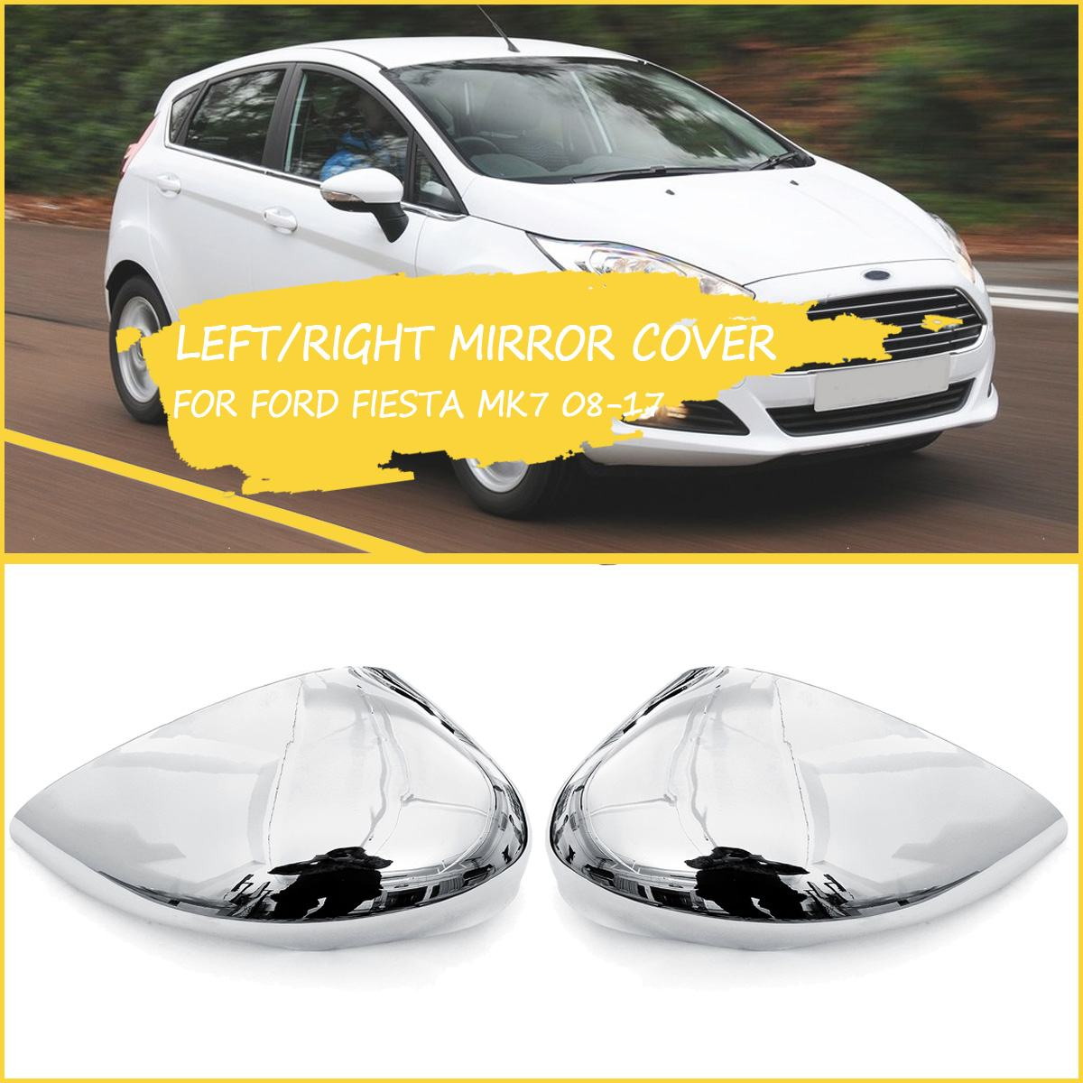 Left Right Side Silver Wing Door Mirror Cover Case For Ford Fiesta MK7 2008-2017