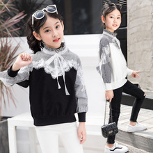 Girls T-shirt baby clothes 2019 spring autumn new cotton long-sleeved lace bottoming shirt children striped stitching T-shirt цена 2017