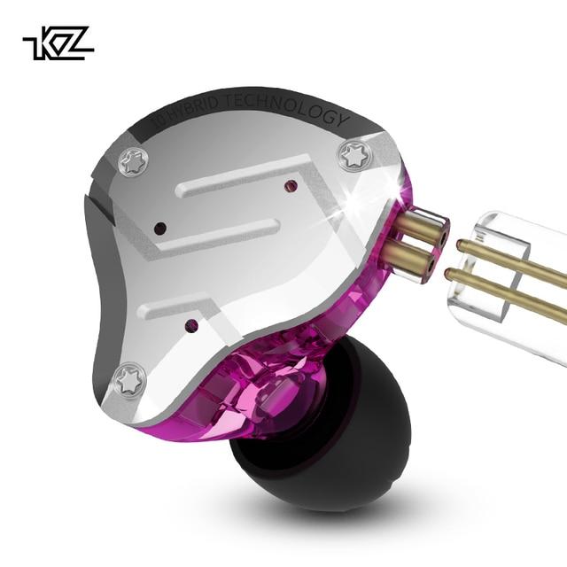 Kz fone de ouvido híbrido zs10 pro 4ba 1dd, fone de ouvido esportivo com tecnologia de redução de ruído, hifi e grave de metal zst as16