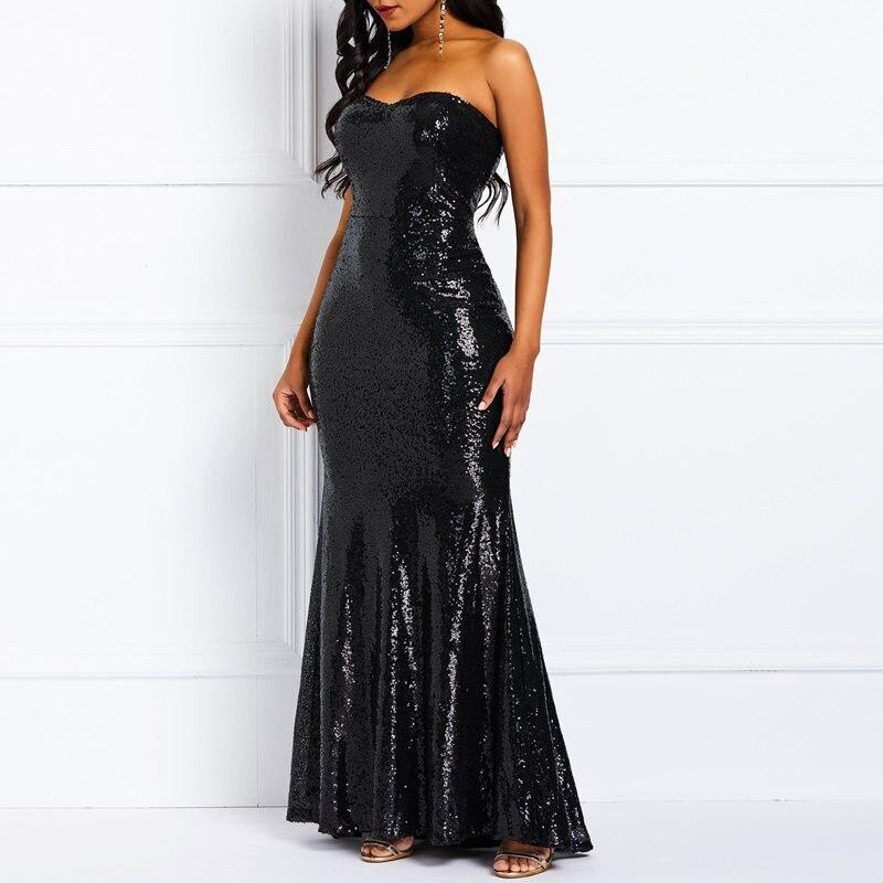 Nu Femme Ol Robes Solide Sirène Bretelles Paillettes Femmes Haute Noir Réfléchissant Robe Taille Dames Sexy Élégant Maxi Partie Club Dos CaxWqwpZX