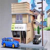 1:64 1Set Architecture for Initial D Fujiwara Tofu Shop Kit Diorama Set Not Include Any Cars Scene LED Model Building Shop