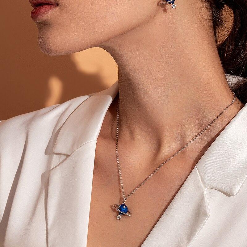 BAMOER Hot Sale 100% 925 Sterling Silver Secret Planet Moon Star Necklaces Pendants for Women Sterling Silver Jewelry BSN007
