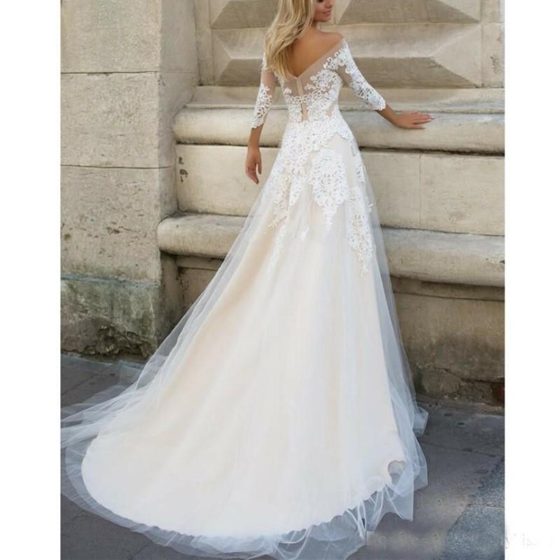 Image 2 - lORIE  Wedding Dresses 2019 Elegant 3/4 Sleeves Sweep Train Plus Size Bridal Dress Custom Champagne Boho Wedding Gown-in Wedding Dresses from Weddings & Events