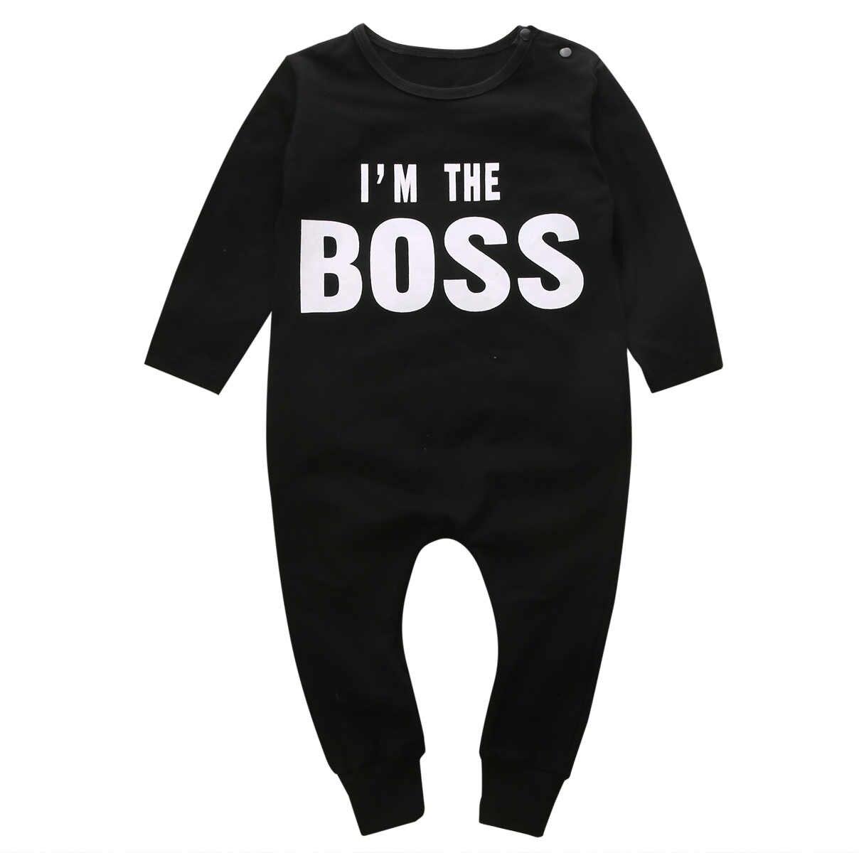 Симпатичный комплект для новорожденной девочки с длинным рукавом комбинезон для младенцев мальчиков девочек комбинезоны наряды Im boss black