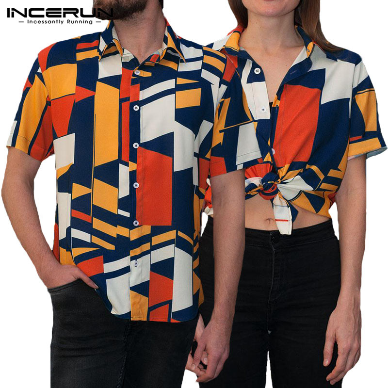 Summer Elegant Camisa Feminina Casual Shirts Men Tropical Geometric Short Sleeve Slim Fit Lapel Shirts Fashion Clothes Chemise