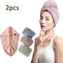 2PCS Pack Wholesale Water absorbing Dry Hair Shower Cap Double Layer Hair Wrap Towels Thick Micron