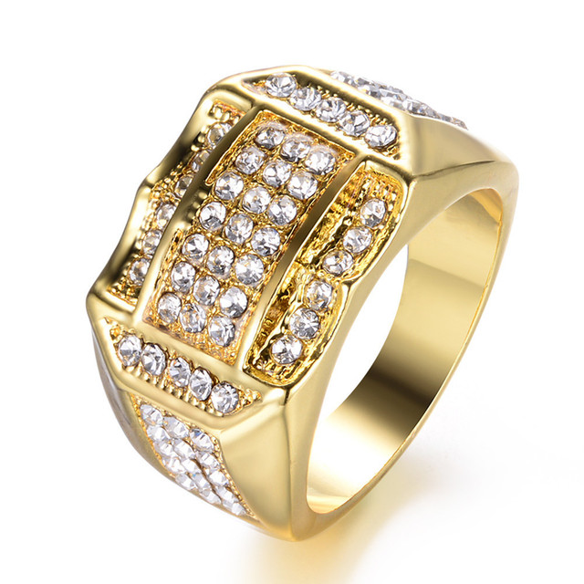 US $13 8 31% OFF|14K White Gold 925 Sterling Silver Hot Fashion Big Inlaid  Zircon Diamond Close Rings for Men Jewelry Yellow Gold Geometric Type-in