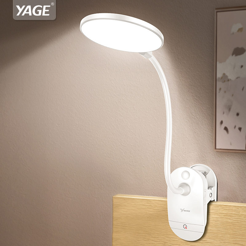 YAGE T101 Touch On/off Switch 3 Modes Clip Desk Lamp 7000K Eye Protection Reading Dimmer 18650 Rechargeable USB Led Table Lamps
