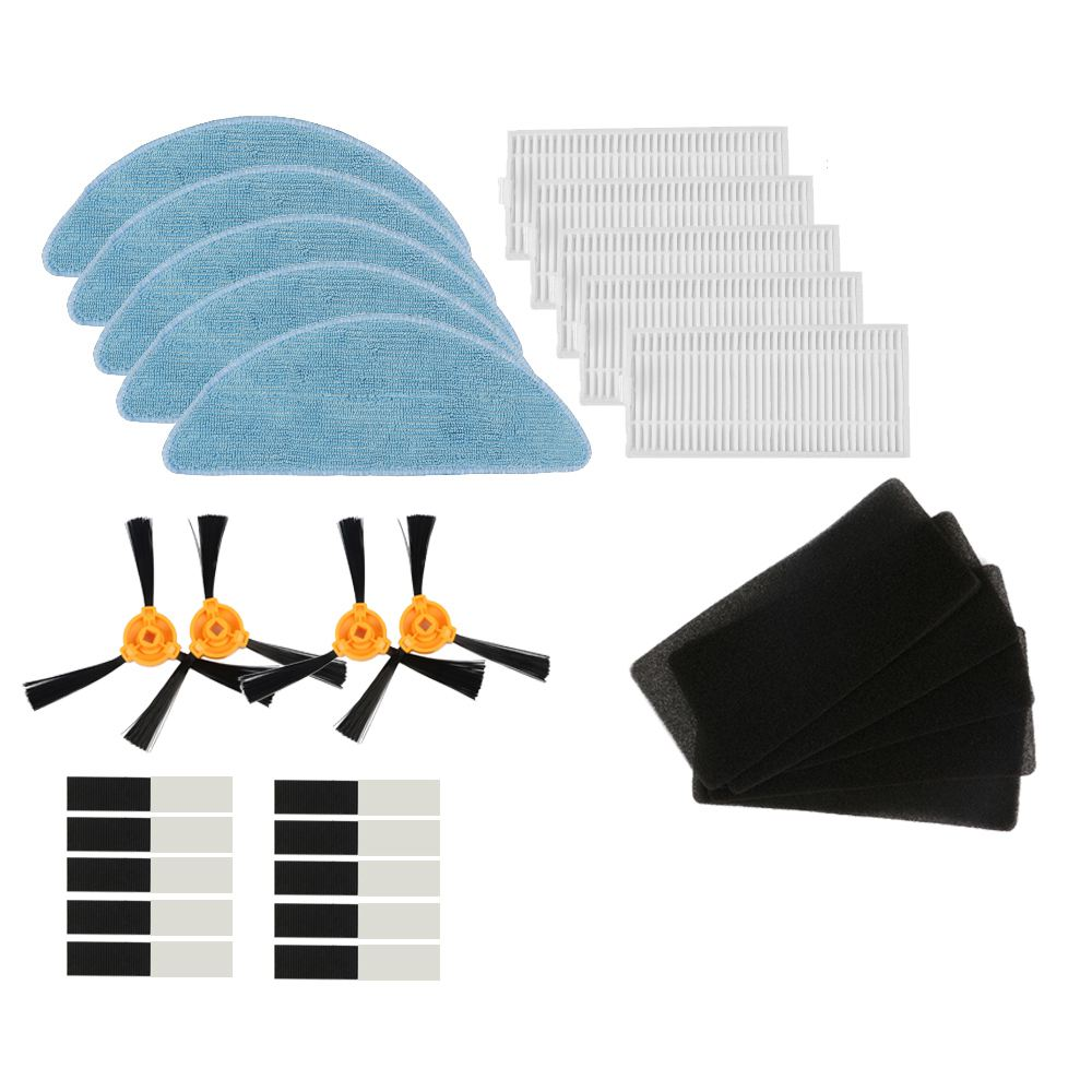 EAS-2 pair side brush +5 x HEPA filter +5 x sponge +5 x mop cloth +10 x paste for Robotic Vacuum Cleaner Parts