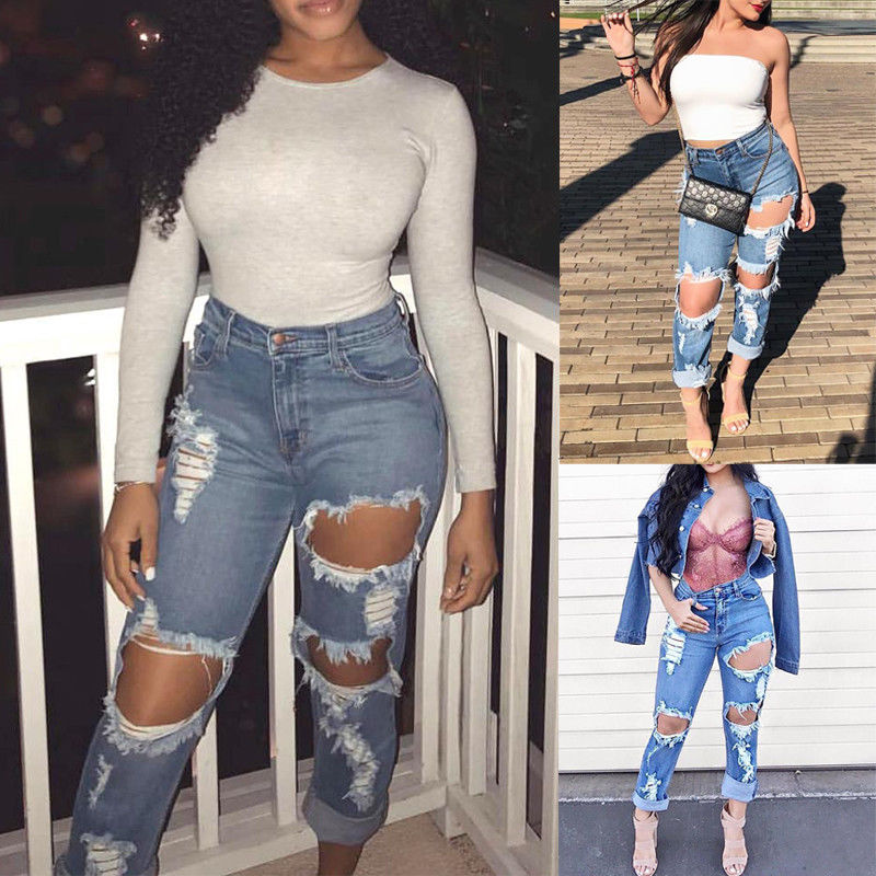 HIRIGIN Fashion Women High Waist Jeans Ripped Distressed Slim Denim Pants Trouser Plus Size Suits