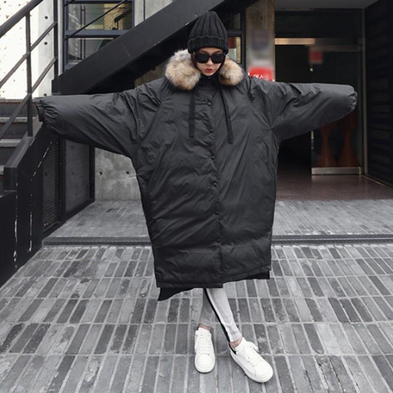 CHICEVER Winter Donsjack Jas Hooded Batwing Mouwen Asymmetrische Hem Split Zwarte Dikke Jassen Vrouwelijke Mode Zoete Kleding Nieuwe-in Parka's van Dames Kleding op  Groep 3