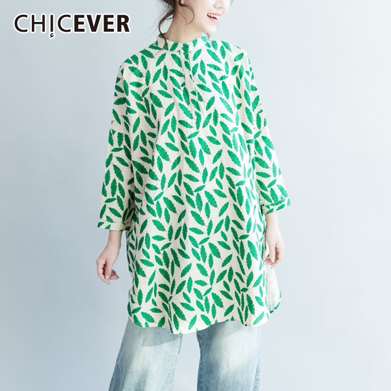 CHICEVER Autumn Print Women   Blouses     Shirt   Top Long Sleeve hem Split Loose Big Size   Shirts   Tops Clothes Fashion New 2018