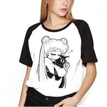 Koszula Sailor Moon ubrania topy kobiety Kawaii koszulki Harajuku Sailor Moon koszulka dla kota z krótkim rękawem t-shirt plus size Femme tanie tanio DAYUHU Lycra Słodkie Suknem NONE REGULAR Charakter O-neck Tees