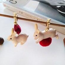 Japan And South Korea Funny 3D White Rabbit Asymmetric Earrings Animal Sweet Lovely Red Hair Ball Earring