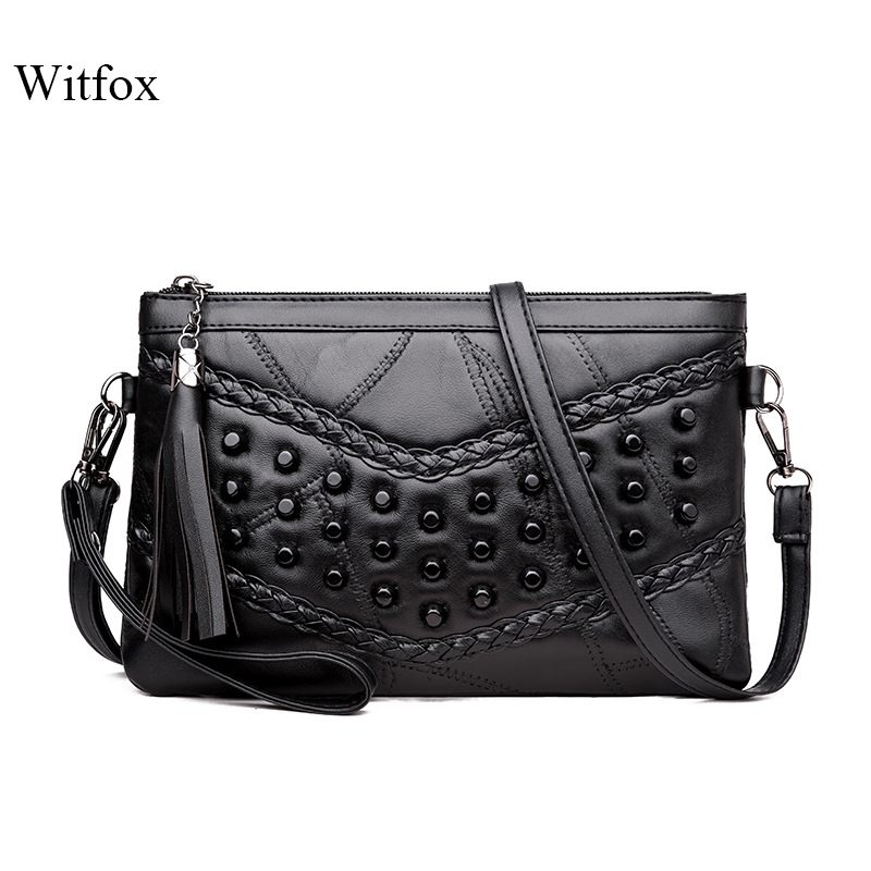 WITFOX Genuine Leather Sheep Skin Women 's Bag Rivet Punk Day Clutches V Letter Pattern Cell Phone Packet For Ladies