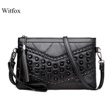 WITFOX Genuine leather sheep skin women 's bag Rivet Punk day clutches V letter pattern cell phone packet for ladies fashion two way designer genuine alligator skin ladies women pink day clutches exotic crocodile leather wristlets card case bag