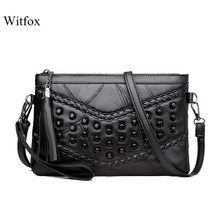 WITFOX Genuine leather sheep skin women 's bag Rivet Punk day clutches V letter pattern cell phone packet for ladies(China)