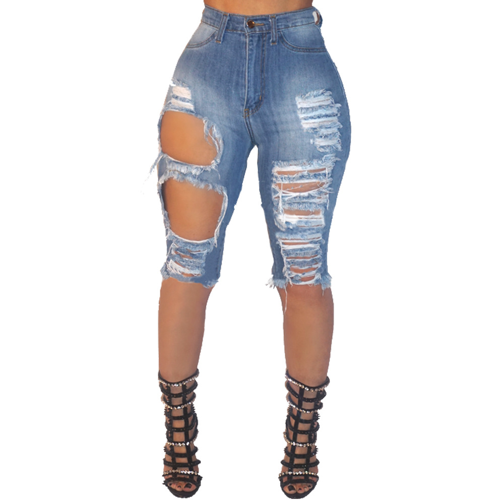 High Waist Jeans For Women Denim Hole Ripped Jean 2019 Summer Stretch Slim Sexy Keen Length Pencil Pants Plus Size