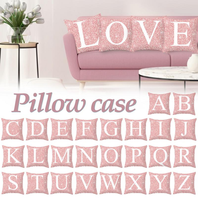 Sweet-Tempered Pillow Case 45*45 Pink Metal Letter Peach Skin Hump Pillowcase Cushion Covers For Sofa Home Decoration #cw Cushion Cover