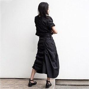 Image 3 - CHICEVER Summer Vintage Irregular Draped Solid Women T shirt O Neck Short Sleeve Loose Slim Female Top Clothing 2020 Korean New