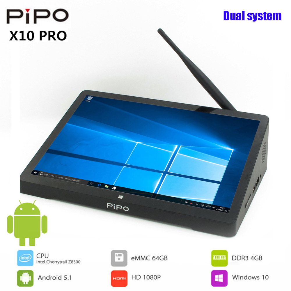 PIPO X10 Pro mini pc Win & Andriod 5.1 mini pc Intel Cherrytrail Z8350 Quad Core 4 GB RAM 10.8 ''IPS tablet PC lecteur multimédia intelligent