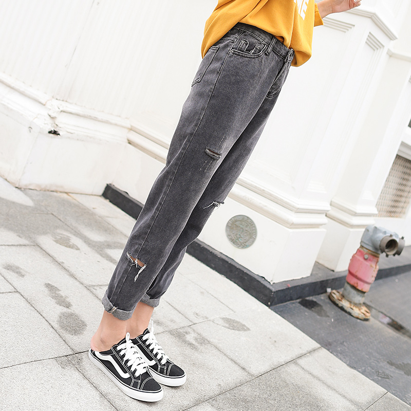Dark Grey Boyfriend Hole Jeans Women Loose Harem High Waist Denim Pants Lady Casual  Haroun Pants 8180#