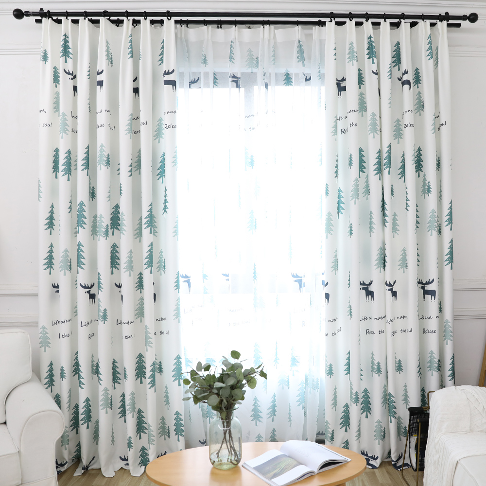 Curtain For Balcony: Fresh Style Forest Deerlet Simple Window Curtain For