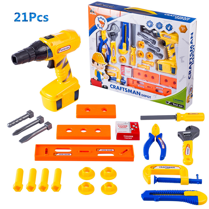 Children Plastic Play Tool Toys Set Pretend Rotation Electric Drill Early Development Education Toys For Children