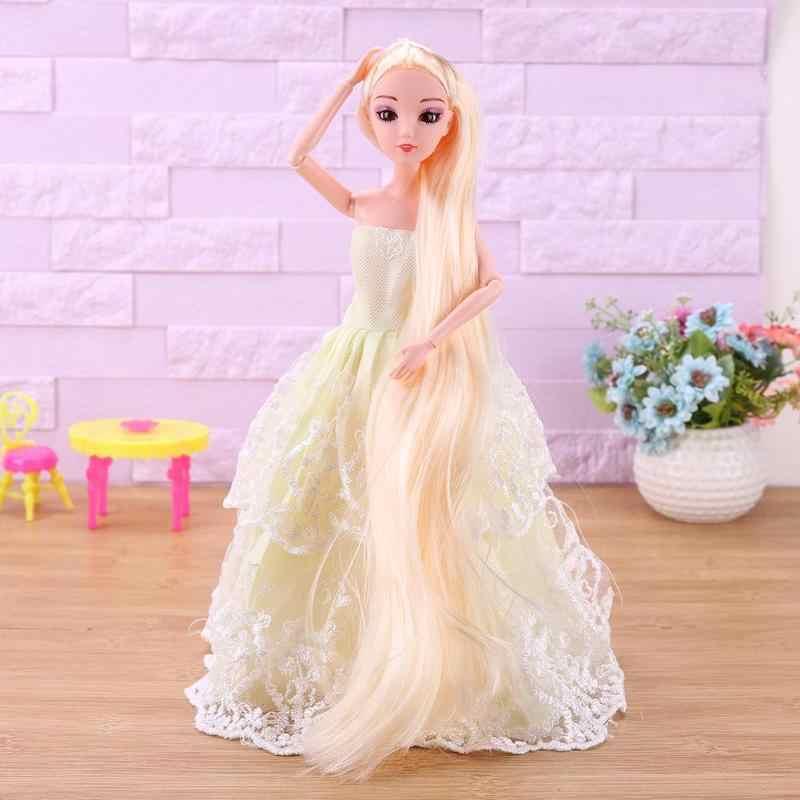 Plastic Lange Pruik Pop Hoofd Accessoires 3D Ogen Cake Plastic Pvc Pop Bakvorm Dikker Kapsel Mooie Lange Haar Speelgoed