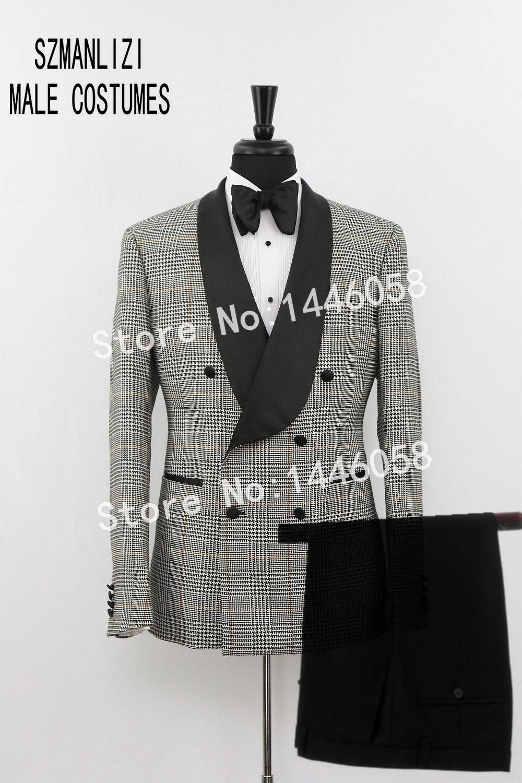 SZMANLIZI Men Wedding Suits 2019 Coat Pants Designs Double Breasted Plaid Tuxedo Groom Wedding Party Suits For Men Groomsmen