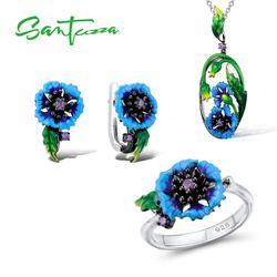 SANTUZZA Jewelry Set For Women Genuine 925 Sterling Silver Blue Flower Ring Earrings Pendent Set Fashion Jewelry HANDMADE Enamel